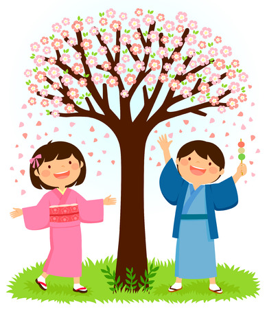 Kids on Japanese traditional costume on pink and blue standing under Sakura tree Illustration