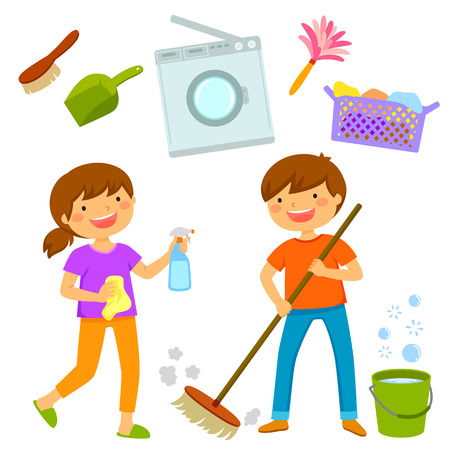 Happy boy and girl cleaning the house together
