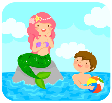 Mermaid sitting on a rock in the sea smiling to a boy with a beach ball