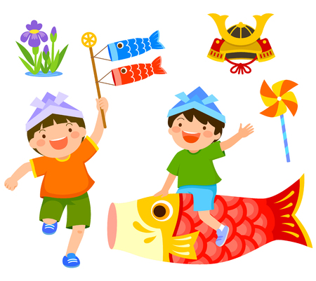 Japans childrens day clip art set. Boy riding a carp and another boy holding koinobori.