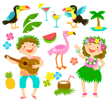 Happy kids with Hawaiian outfits together with tropical themed items. Banco de Imagens - 102346691