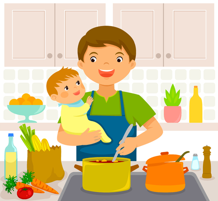 Young man cooking in the kitchen while holding a baby  イラスト・ベクター素材