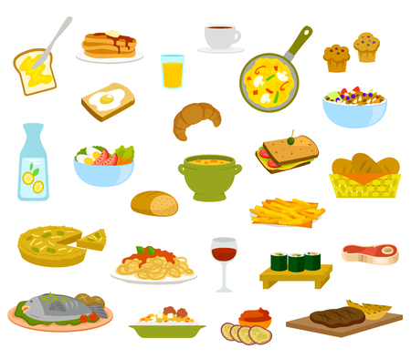 A collection of menu items for breakfast, lunch and dinner