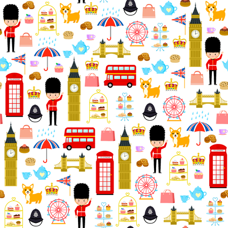 Patrón sin fisuras con lindos dibujos animados relacionados con Londres e Inglaterra Ilustración de vector