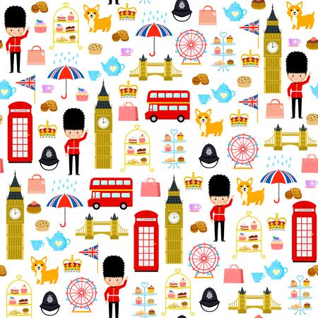 Wzór z uroczymi kreskówkami związanymi z Londynem i Anglią Ilustracje wektorowe