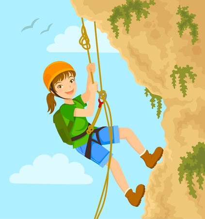 Chica hace rappel por la montaña con cuerdas. Ilustración de vector