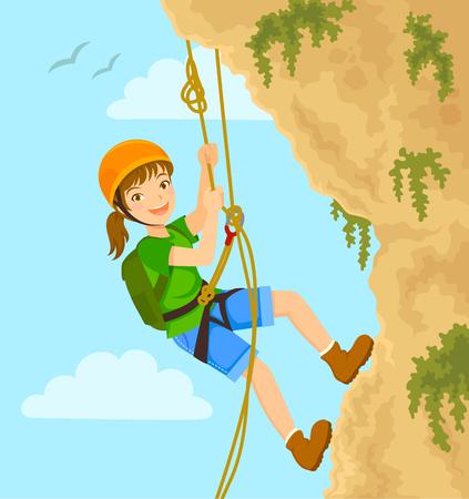 La ragazza si cala in corda doppia giù dalla montagna con le corde Vettoriali