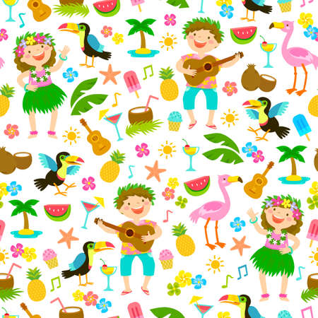 Seamless pattern with kids in Hawaiian outfits and other tropical items.