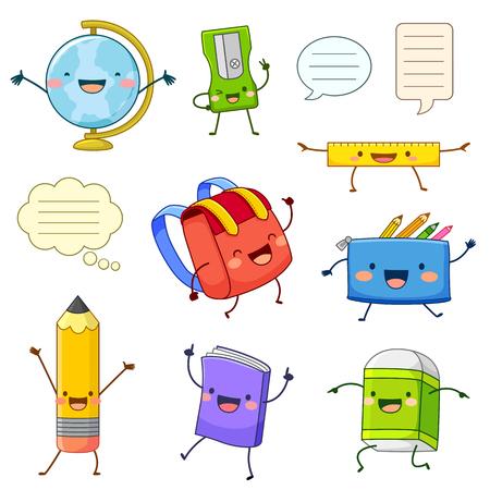 Conjunto de personajes de dibujos animados de artículos de útiles escolares con caras felices