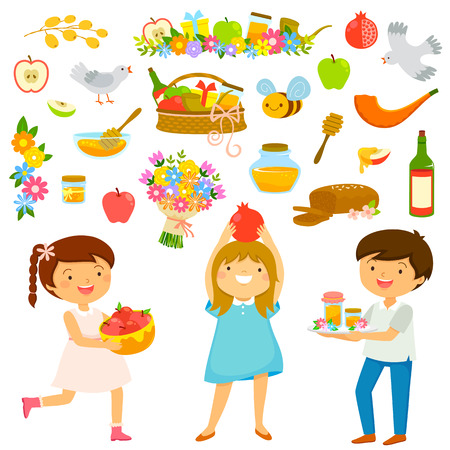 Set of cartoon kids and icons for Rosh Hashanah