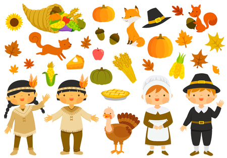Set of illustrations for thanksgiving with characters and holiday symbols  イラスト・ベクター素材