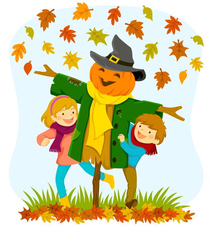 Niños jugando con un espantapájaros de calabaza bajo las hojas de otoño que caen Ilustración de vector