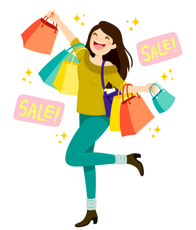 Happy young woman holding shopping bags and enjoying sales Ilustração