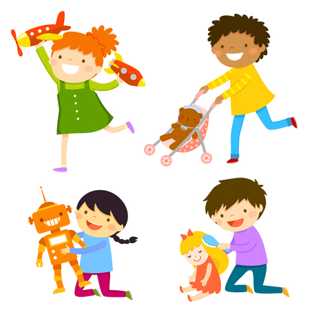 Bambini che giocano con giocattoli del sesso opposto. Concetto di stereotipi di genere.