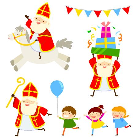 Set of cartoon characters of Sinterklaas and happy kids