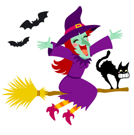 Happy witch flying on a broom with a scared cat