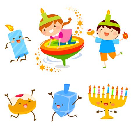 Set of cartoon children and Hanukkah symbols  イラスト・ベクター素材