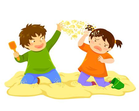 Niño travieso tirando arena a una niña en el arenero Ilustración de vector