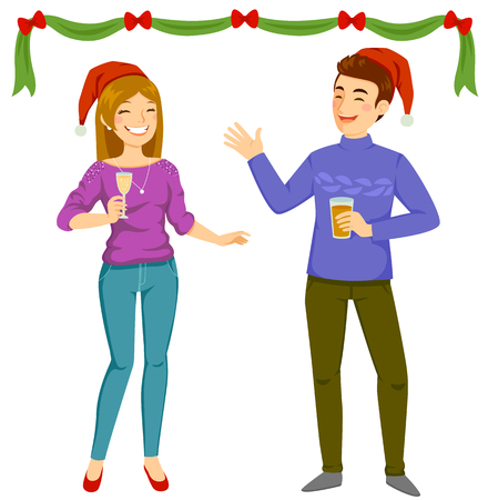 Happy man and woman wearing Santa hats and holding drinks at a Christmas party  イラスト・ベクター素材