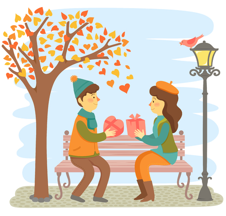 Romantic couple sitting on a bench and giving each other gifts for Valentine's Day. Illustration