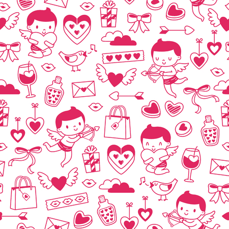 Seamless tileable pattern for Valentines Day with hand drawn illustrations of cupids and romantic items  イラスト・ベクター素材