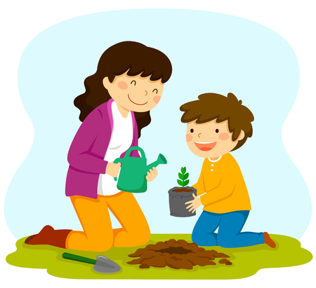 woman and child planting a sapling together. Traditional activity for Tu Bishvat.