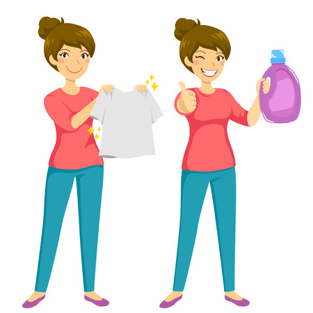 Woman holding a clean washed shirt and presenting a recommended laundry product  イラスト・ベクター素材