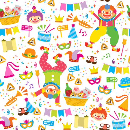 Seamless pattern for Purim with clowns, noise makers and other holiday symbols  イラスト・ベクター素材
