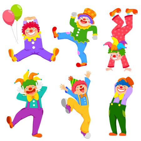 Conjunto de payasos felices de dibujos animados en diferentes poses Ilustración de vector