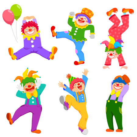 Set of cartoon happy clowns in different poses Ilustração