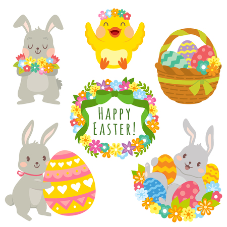 Clip art set of cute cartoons for Easter. Easter bunnies, Easter eggs, flowers and decorations.  イラスト・ベクター素材