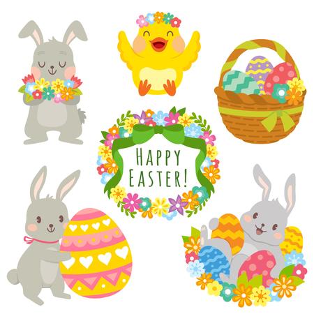 Clip art set of cute cartoons for Easter. Easter bunnies, Easter eggs, flowers and decorations. Illusztráció