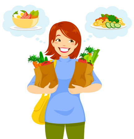 Woman carrying groceries and thinking of the food she will make with them.