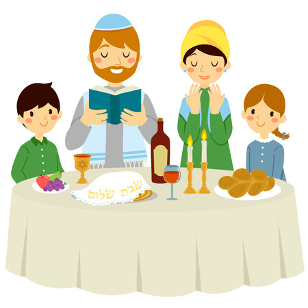 Jewish family having a Shabbat dinner with a traditional Kiddush Stock Vector - 118222645