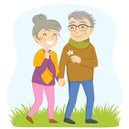 Older couple having a romantic walk outside