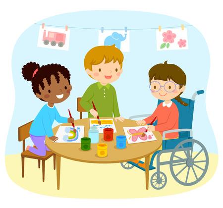 Behindertes Mädchen im Rollstuhl zeichnet mit ihren Freunden im Kindergarten in