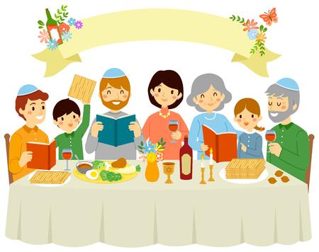 Joyeuse famille juive célébrant la veille de la Pâque sous une bannière vierge avec des décorations florales. Vecteurs