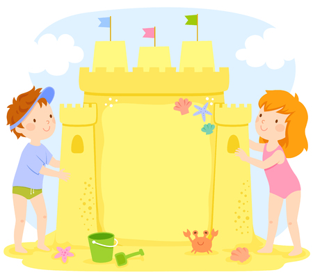 Kids building a sand castle at the beach. The castle contains copy space.  イラスト・ベクター素材