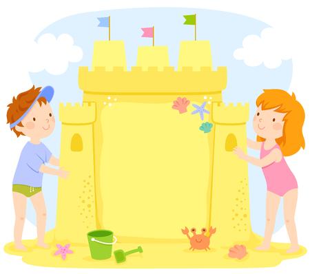 Kids building a sand castle at the beach. The castle contains copy space. Illusztráció