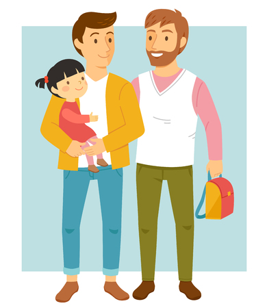 Happy male couple holding their adopted daughter and smiling happily