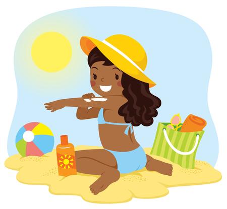 Linda chica de piel oscura aplicando protector solar en la playa