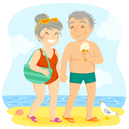 Older couple in swimsuits walking happily on the beach Ilustração