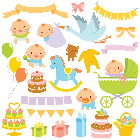 Clip art set of babies and baby shower related items  イラスト・ベクター素材