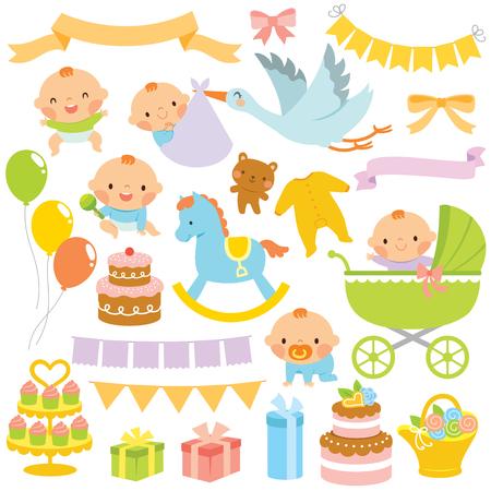 Conjunto de imágenes prediseñadas de bebés y artículos relacionados con baby shower