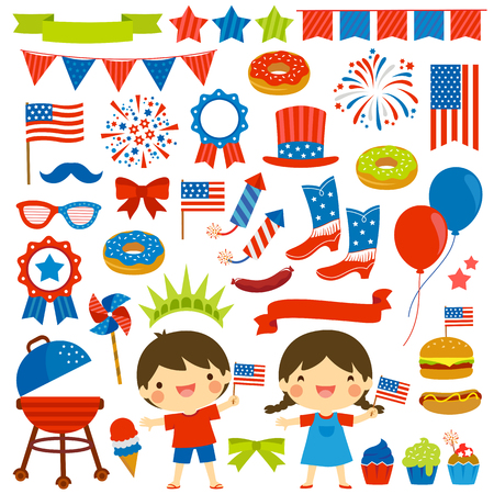 4th of July clip art set with various items and two kids