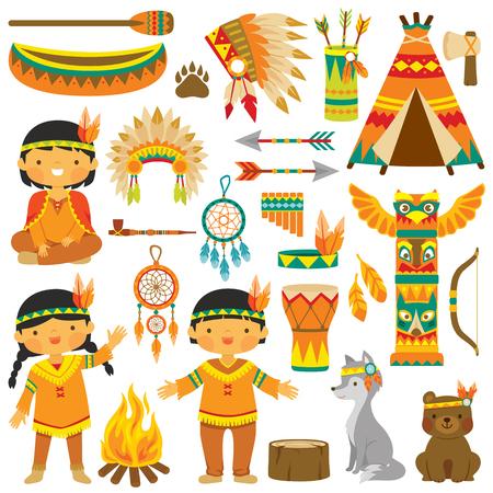 Clip art set met schattige inheemse Amerikaanse kinderen, dieren en traditionele items Vector Illustratie