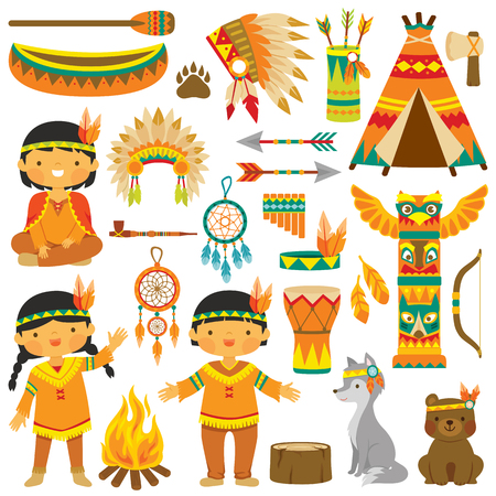 Clip art set with cute native American kids, animals and traditional items