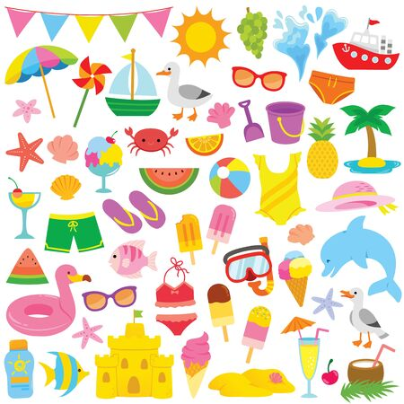 Summer and beach themed clip art set with cute illustrations for kids