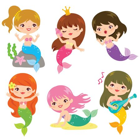 Set of six cute mermaids in different poses over white background