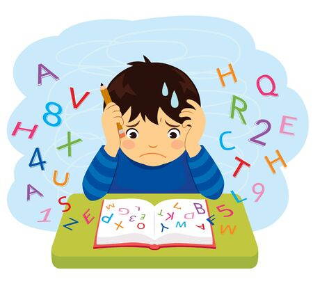 Confused kid looking at letters and numbers flying out of a book Imagens - 128029994